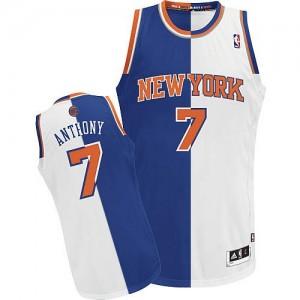 Maillot NBA Authentic Carmelo Anthony #7 New York Knicks Split Fashion Bleu Blanc - Homme