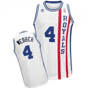 Sacramento Kings #4 Adidas Throwback Blanc Swingman Maillot d'équipe de NBA pas cher - Chris Webber pour Homme