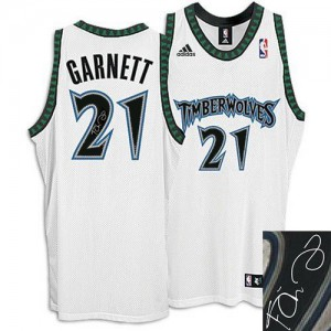 Maillot Authentic Minnesota Timberwolves NBA Augotraphed Blanc - #21 Kevin Garnett - Homme