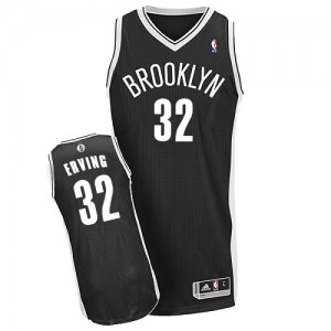 Maillot NBA Brooklyn Nets #32 Julius Erving Noir Adidas Authentic Road - Homme