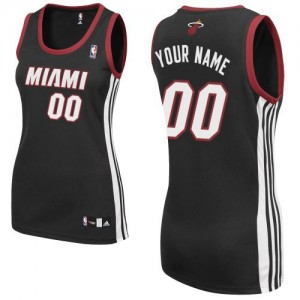 Maillot NBA Noir Authentic Personnalisé Miami Heat Road Femme Adidas
