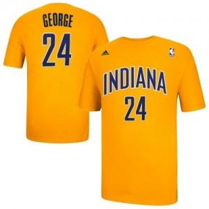 Indiana Pacers #24 Adidas Game Time Or Tee-Shirt d'équipe de NBA préférentiel - Paul George pour Homme