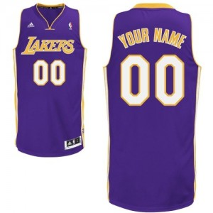 Maillot NBA Los Angeles Lakers Personnalisé Swingman Violet Adidas Road - Enfants