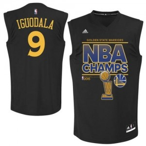 Maillot NBA Golden State Warriors #9 Andre Iguodala Noir Adidas Authentic 2015 NBA Finals Champions - Homme