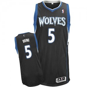 Maillot Authentic Minnesota Timberwolves NBA Alternate Noir - #5 Gorgui Dieng - Homme