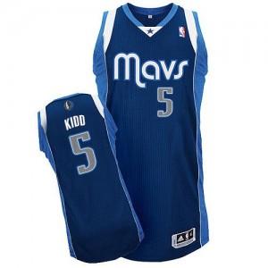 Dallas Mavericks Jason Kidd #5 Alternate Authentic Maillot d'équipe de NBA - Bleu marin pour Homme