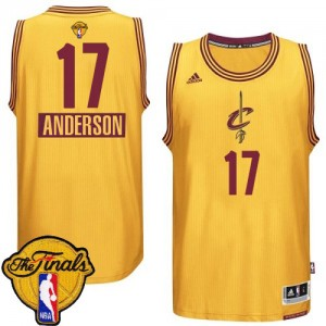 Maillot NBA Cleveland Cavaliers #17 Anderson Varejao Or Adidas Authentic 2014-15 Christmas Day 2015 The Finals Patch - Homme