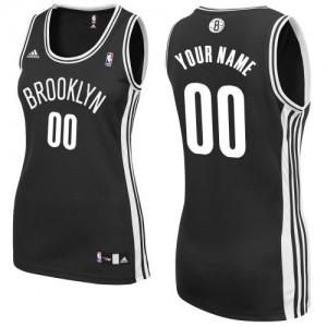 Brooklyn Nets Swingman Personnalisé Road Maillot d'équipe de NBA - Noir pour Femme