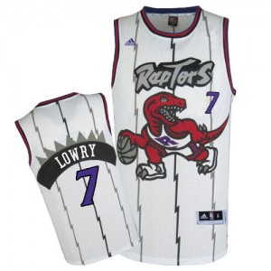 Maillot NBA Toronto Raptors #7 Kyle Lowry Blanc Adidas Swingman Throwback - Homme