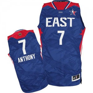Maillot NBA Bleu Carmelo Anthony #7 New York Knicks 2013 All Star Authentic Homme Adidas