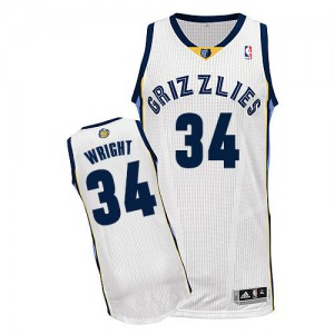 Maillot Authentic Memphis Grizzlies NBA Home Blanc - #34 Brandan Wright - Homme