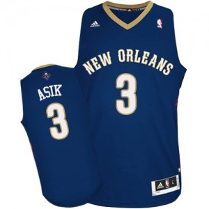 Maillot NBA New Orleans Pelicans #3 Omer Asik Bleu marin Adidas Authentic Road - Homme