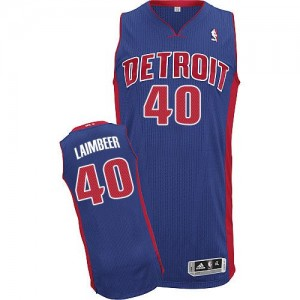 Detroit Pistons Bill Laimbeer #40 Road Authentic Maillot d'équipe de NBA - Bleu royal pour Homme
