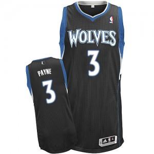 Maillot Adidas Noir Alternate Authentic Minnesota Timberwolves - Adreian Payne #3 - Homme