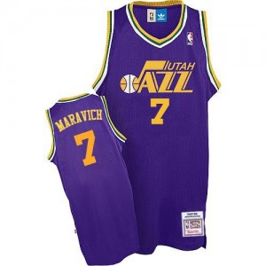 Maillot NBA Utah Jazz #7 Pete Maravich Violet Adidas Authentic Throwback - Homme