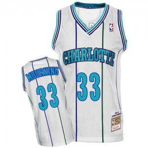 Charlotte Hornets Mitchell and Ness Alonzo Mourning #33 Throwback Authentic Maillot d'équipe de NBA - Blanc pour Homme