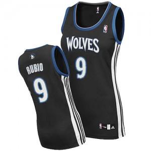 Maillot NBA Noir Ricky Rubio #9 Minnesota Timberwolves Alternate Authentic Femme Adidas