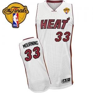 Miami Heat #33 Adidas Home Finals Patch Blanc Swingman Maillot d'équipe de NBA Vente pas cher - Alonzo Mourning pour Homme