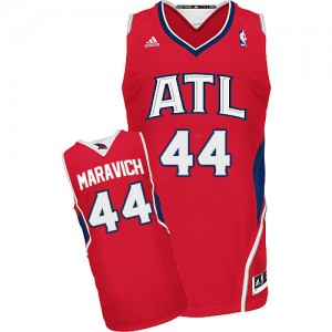 Maillot NBA Atlanta Hawks #44 Pete Maravich Rouge Adidas Swingman Alternate - Homme