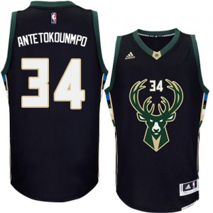 Milwaukee Bucks Giannis Antetokounmpo #34 Alternate Authentic Maillot d'équipe de NBA - Noir pour Homme