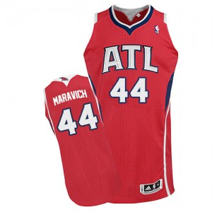 Maillot Adidas Rouge Alternate Authentic Atlanta Hawks - Pete Maravich #44 - Homme