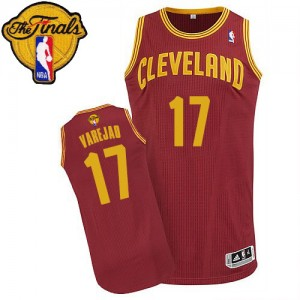 Maillot Authentic Cleveland Cavaliers NBA Road 2015 The Finals Patch Vin Rouge - #17 Anderson Varejao - Homme
