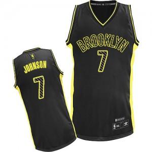 Maillot NBA Brooklyn Nets #7 Joe Johnson Noir Adidas Authentic Electricity Fashion - Homme