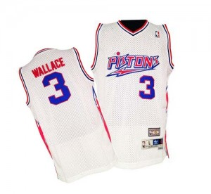 Detroit Pistons Ben Wallace #3 Throwback Authentic Maillot d'équipe de NBA - Blanc pour Homme