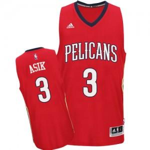 Maillot NBA New Orleans Pelicans #3 Omer Asik Rouge Adidas Swingman Alternate - Homme