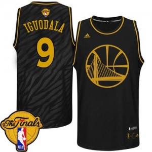 Maillot Authentic Golden State Warriors NBA Precious Metals Fashion 2015 The Finals Patch Noir - #9 Andre Iguodala - Homme