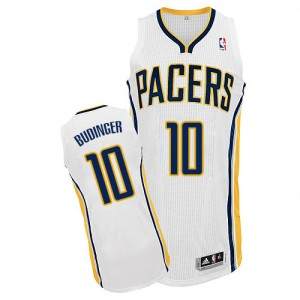 Maillot NBA Indiana Pacers #10 Chase Budinger Blanc Adidas Authentic Home - Homme