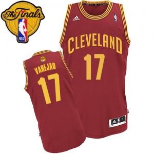 Cleveland Cavaliers Anderson Varejao #17 Road 2015 The Finals Patch Swingman Maillot d'équipe de NBA - Vin Rouge pour Homme