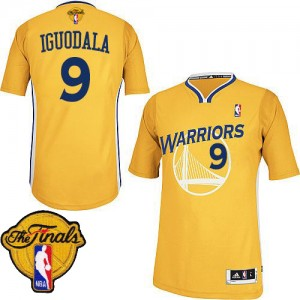 Golden State Warriors Andre Iguodala #9 Alternate 2015 The Finals Patch Authentic Maillot d'équipe de NBA - Or pour Homme