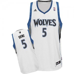 Maillot Adidas Blanc Home Swingman Minnesota Timberwolves - Gorgui Dieng #5 - Homme