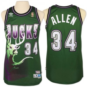 Maillot NBA Milwaukee Bucks #34 Giannis Antetokounmpo Vert Adidas Swingman New Throwback - Homme