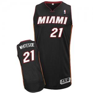 Miami Heat Hassan Whiteside #21 Road Authentic Maillot d'équipe de NBA - Noir pour Homme