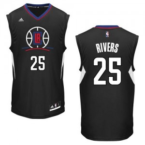 Los Angeles Clippers #25 Adidas Alternate Noir Authentic Maillot d'équipe de NBA la meilleure qualité - Austin Rivers pour Homme