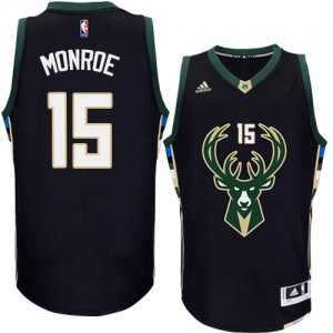 Maillot Adidas Noir Alternate Swingman Milwaukee Bucks - Greg Monroe #15 - Homme