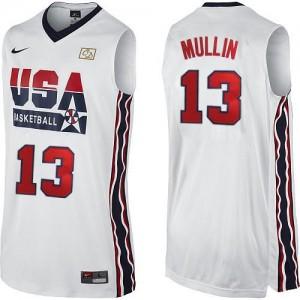 Team USA #13 Nike 2012 Olympic Retro Blanc Authentic Maillot d'équipe de NBA la meilleure qualité - Chris Mullin pour Homme