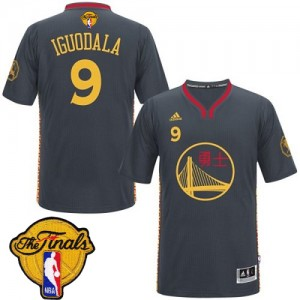 Maillot NBA Golden State Warriors #9 Andre Iguodala Noir Adidas Authentic Slate Chinese New Year 2015 The Finals Patch - Homme