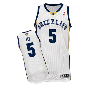 Maillot NBA Blanc Courtney Lee #5 Memphis Grizzlies Home Authentic Homme Adidas