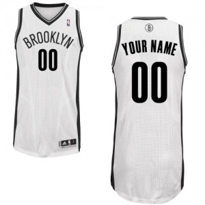 Maillot NBA Blanc Authentic Personnalisé Brooklyn Nets Home Homme Adidas