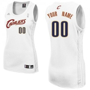 Maillot NBA Blanc Swingman Personnalisé Cleveland Cavaliers Home Femme Adidas