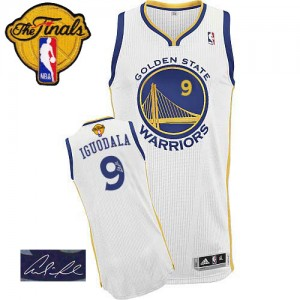 Golden State Warriors #9 Adidas Home Autographed 2015 The Finals Patch Blanc Authentic Maillot d'équipe de NBA boutique en ligne - Andre Iguodala pour Homme