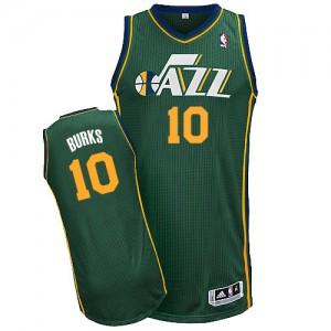 Utah Jazz #10 Adidas Alternate Vert Authentic Maillot d'équipe de NBA Promotions - Alec Burks pour Homme