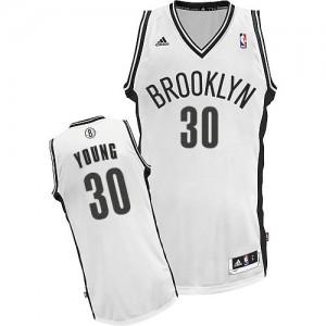 Maillot NBA Blanc Thaddeus Young #30 Brooklyn Nets Home Swingman Femme Adidas