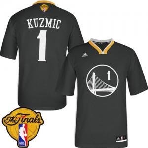 Maillot NBA Golden State Warriors #1 Ognjen Kuzmic Noir Adidas Swingman Alternate 2015 The Finals Patch - Homme
