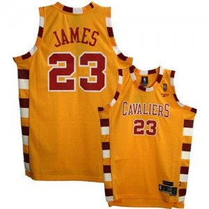 Maillot Adidas Or Throwback Classic Authentic Cleveland Cavaliers - LeBron James #23 - Homme