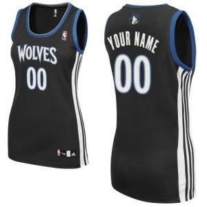 Minnesota Timberwolves Personnalisé Adidas Alternate Noir Maillot d'équipe de NBA Discount - Authentic pour Femme