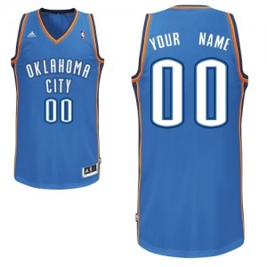Maillot Adidas Bleu royal Road Oklahoma City Thunder - Swingman Personnalisé - Homme